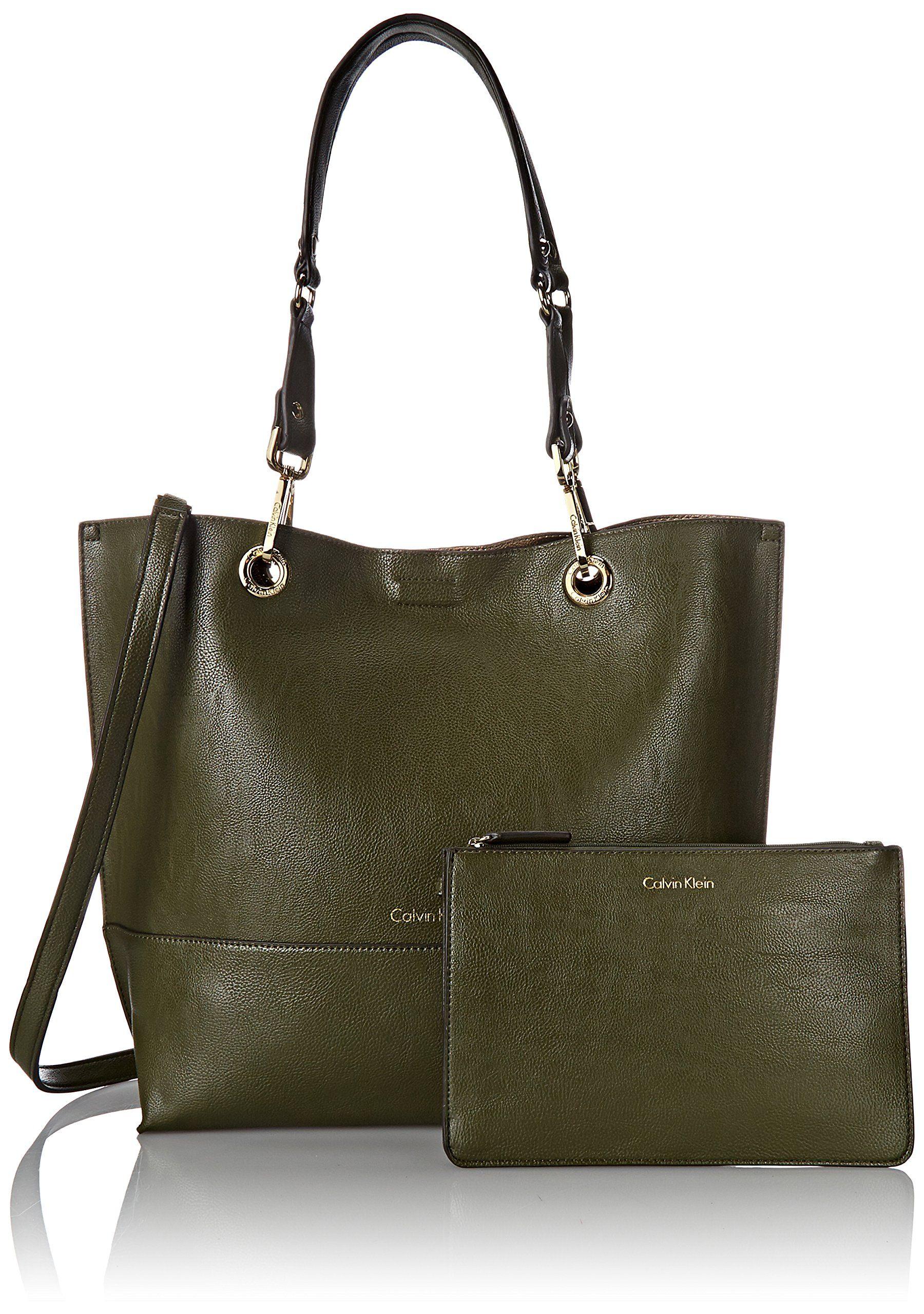 eadd275b7726 Calvin Klein Calvin Klein Reversible Tote Bag, Olive/Antique Bronze, One  Size: Handbags: Amazon.com