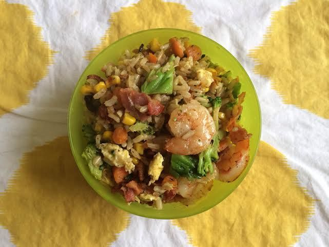Shrimp and veggie fried rice with bacon