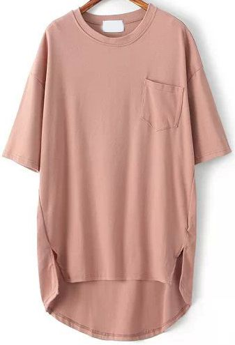 Pink Pocket Split Dip Hem T-Shirt -SheIn(Sheinside)