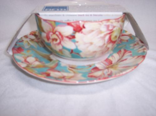 Mug & Plate Soup Bowl Cup Floral New 222 Fifth Marley Teal Porcelain ...