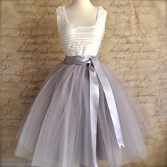 Pale Grey Tulle Tutu Skirt For Women With Silver Satin Lining Tea Length Classic