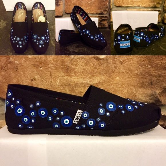 f0d40acc216 Evil Eye Wave (black) - hand painted TOMS Price based on Poshmark  commission!
