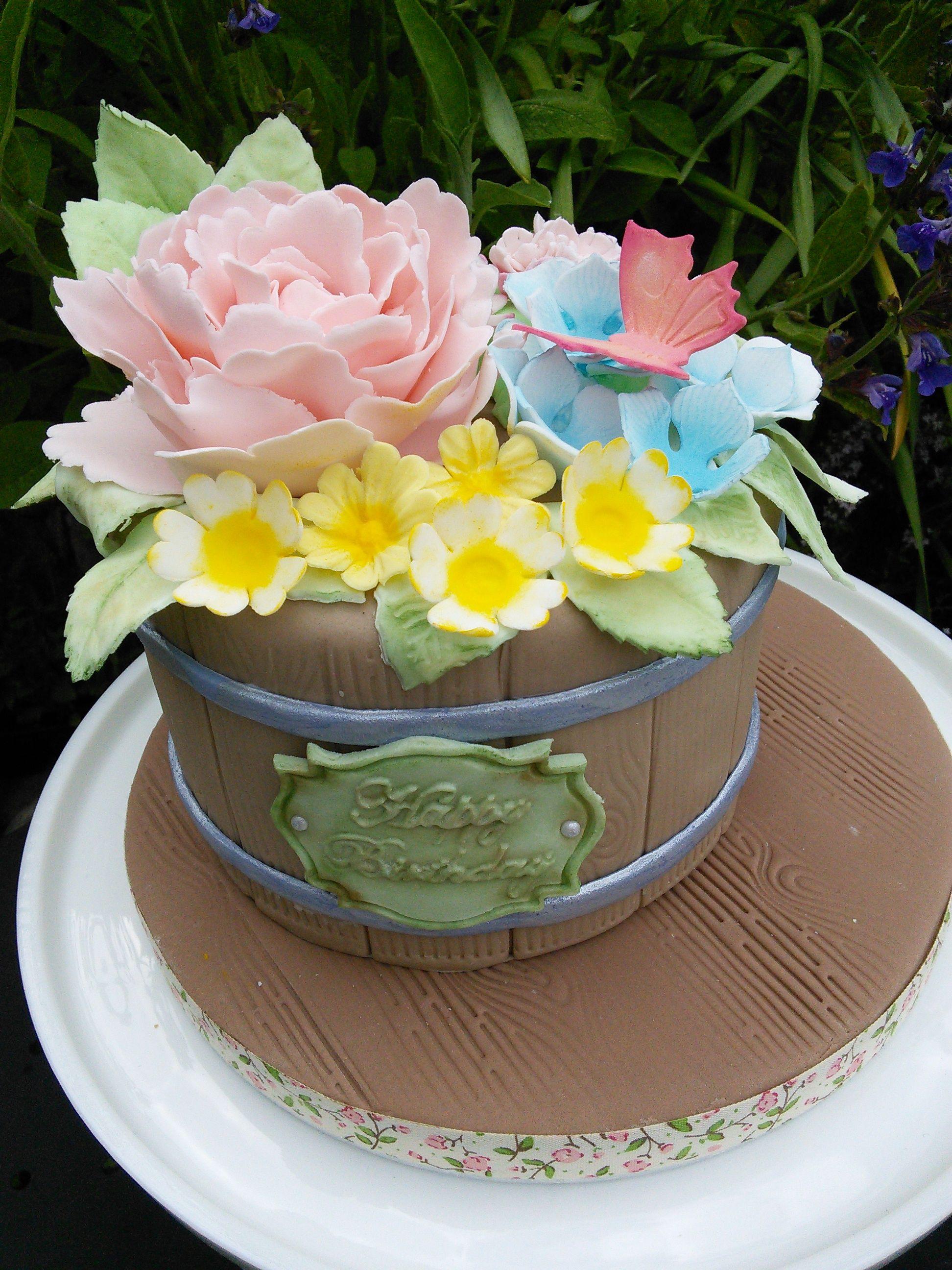 Flower planter birthday cake cakes for women birthday