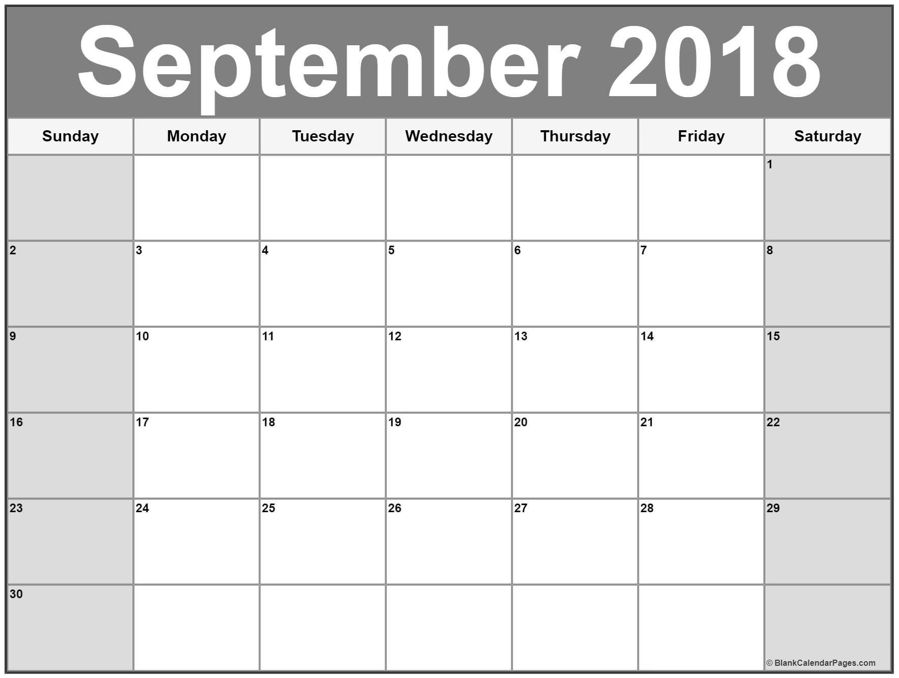 September Calendar Printable Free September