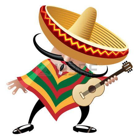Buy Mexican Musician by on GraphicRiver. Vector illustration of mexican  musician in sombrero with guitar drawn in cartoon style.