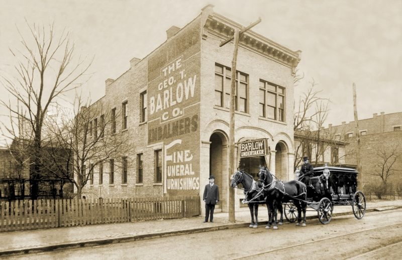 The Barlow funeral home was photographed in 1917 at Its