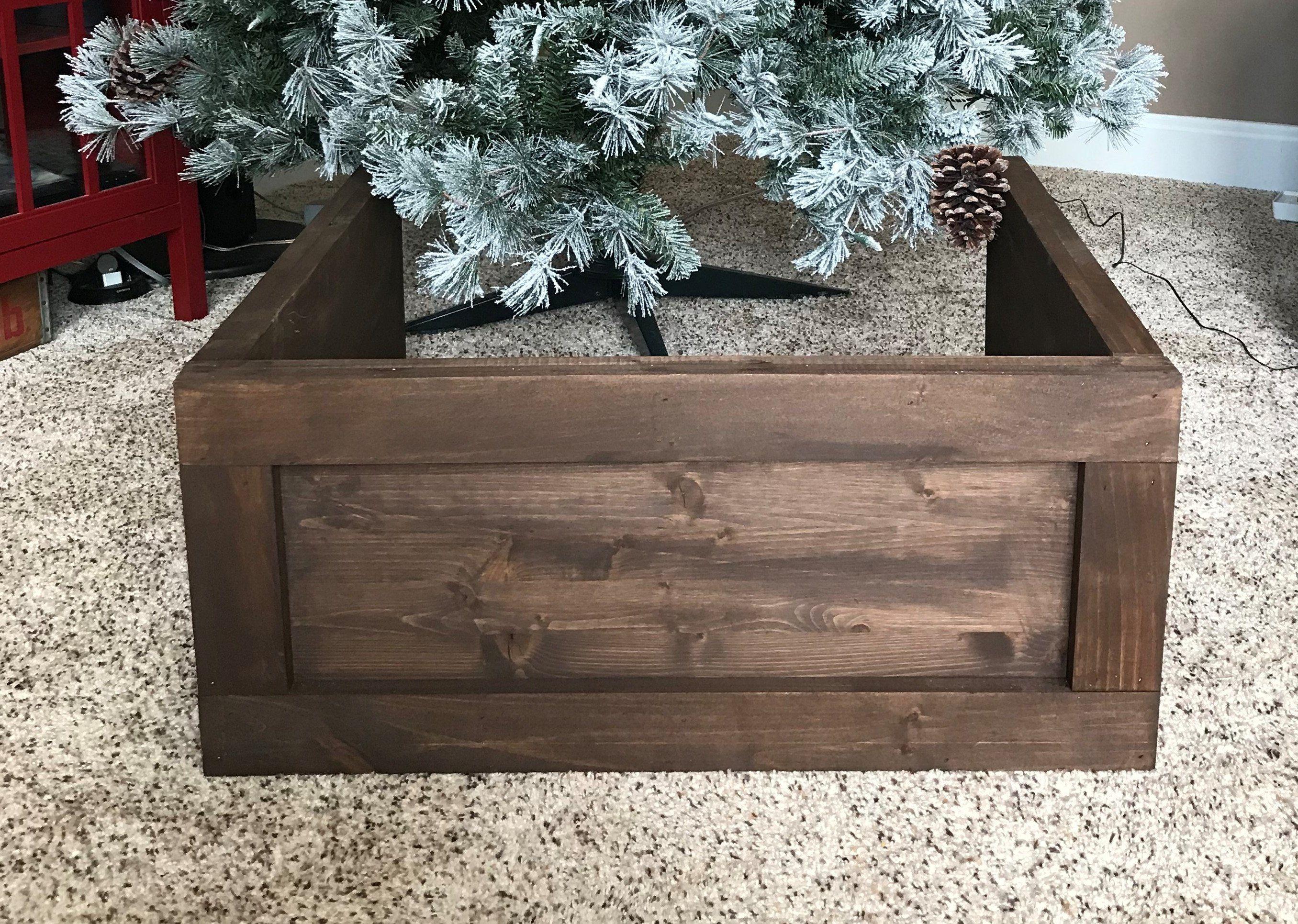 Folding Wood Christmas Tree Box Stand Wood Tree Skirt Etsy Christmas Tree Stand Diy Wood Christmas Tree Christmas Tree Box