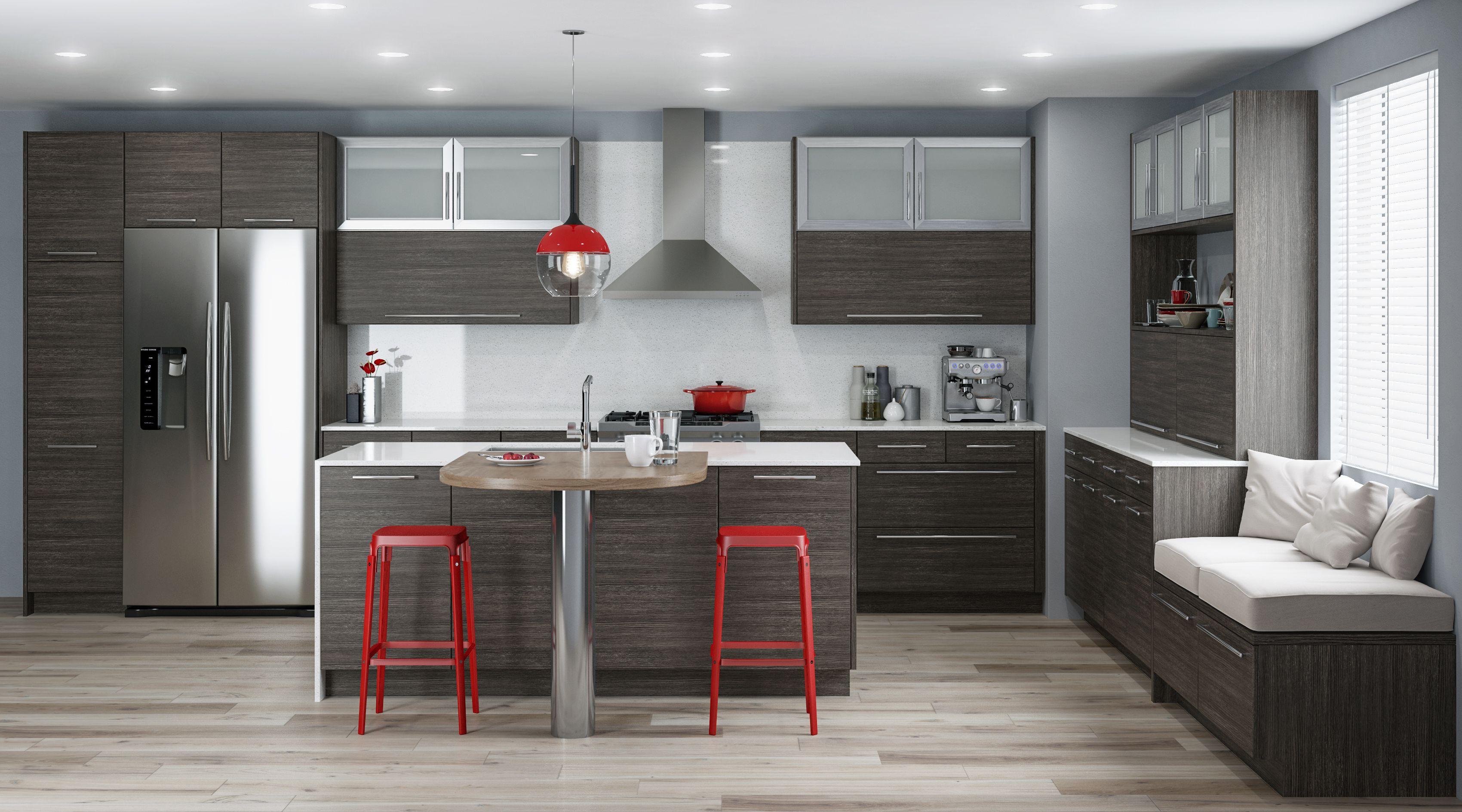 Moda Textured Laminate Ash Coastal Kitchen Cabinets Kitchen Cabinets Contemporary Walnut Kitchen