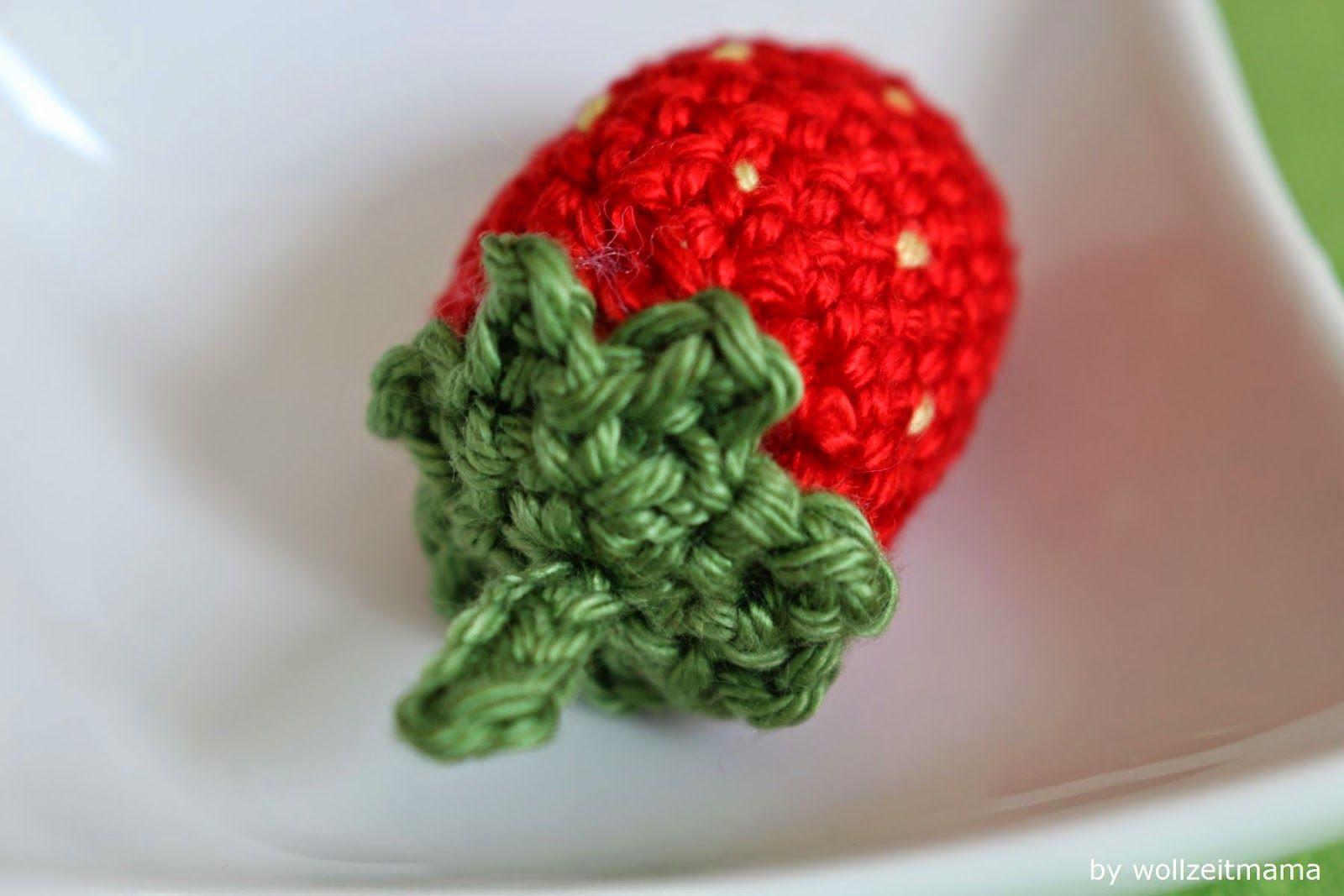 Erdbeeren häkeln für Kinderküche und Halskette, Anleitung   Häkeln ...