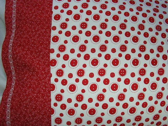 Red Button on White Standard Size Pillowcase by LJsCustomCreations, $8.00