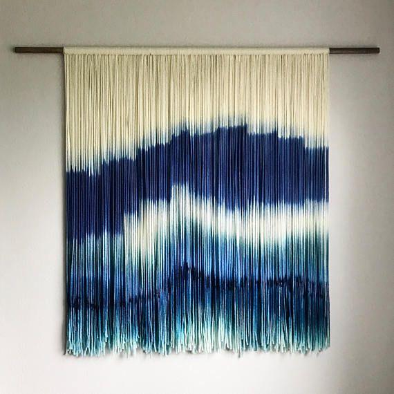 Custom Order Medium Dip Dyed Tapestry Fiber Art Yarn Wall