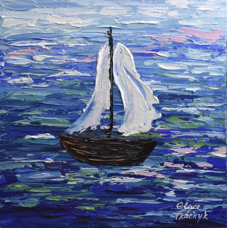 Sail Boat Painting 10 Acrylic Impressionist Art Original Ocean