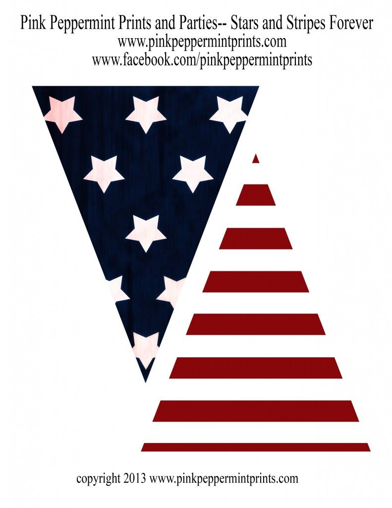 Stars And Stripes Forever Th Of July Printable Pennant Banner