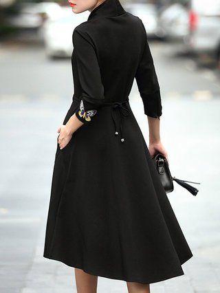 Black Embroidered 3/4 Sleeve Midi Dress