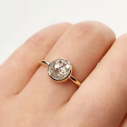 Vale Jewelry Custom Rose Cut Raw Grey Diamond Ring