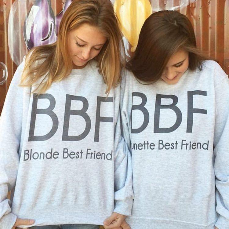 bff blonde brunette best friend pullovers best friend best friend pinterest freunde. Black Bedroom Furniture Sets. Home Design Ideas