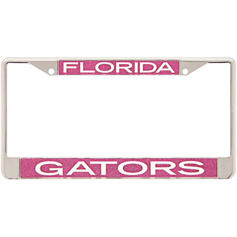 Gators Pink Glitter License Plate Frame with White Lettering