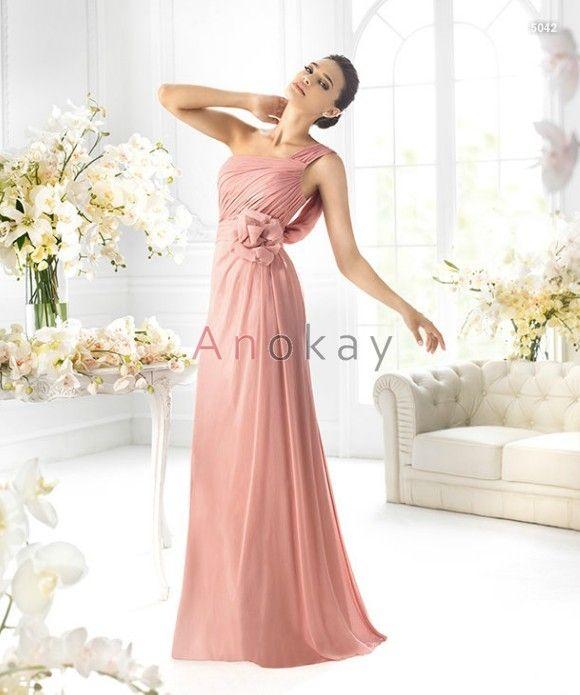 Eine Schulter Blumen Empire Rosa Abendkleider PSL1305379 ...