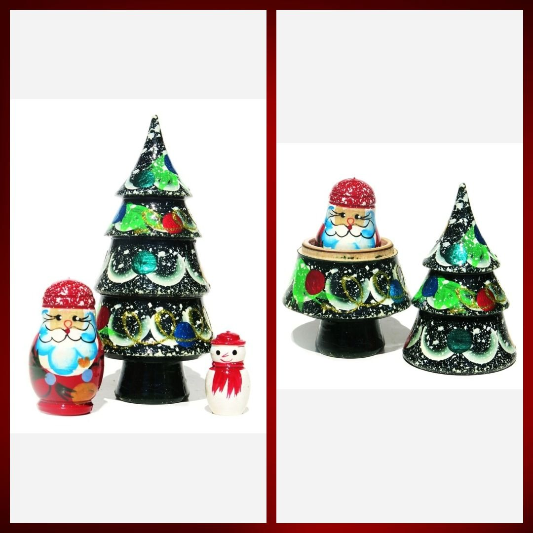 Christmas Tree 3 Piece Russian Nesting Doll Set in 2020