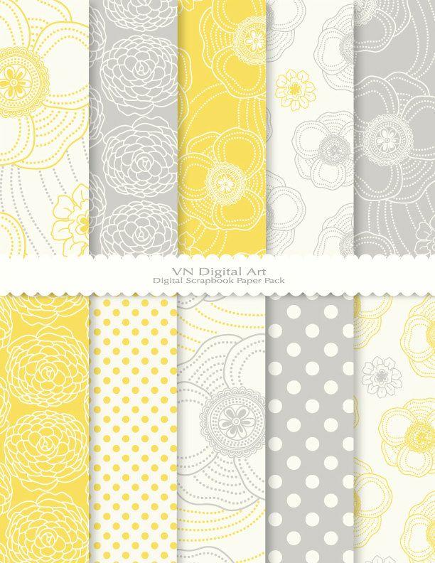 "Digital Scrapbook Paper Pack (8.5x11""-300 dpi) -- 10 Digital papers -- Dot Flower 469. $3.00, via Etsy"