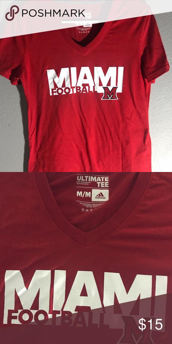 new arrival ef4d6 739b2 Adidas Miami Football Shirt ❤ Red Adidas Miami Football T-Shirt. Comfy and  lightweight ❤ adidas Tops Tees - Short Sleeve