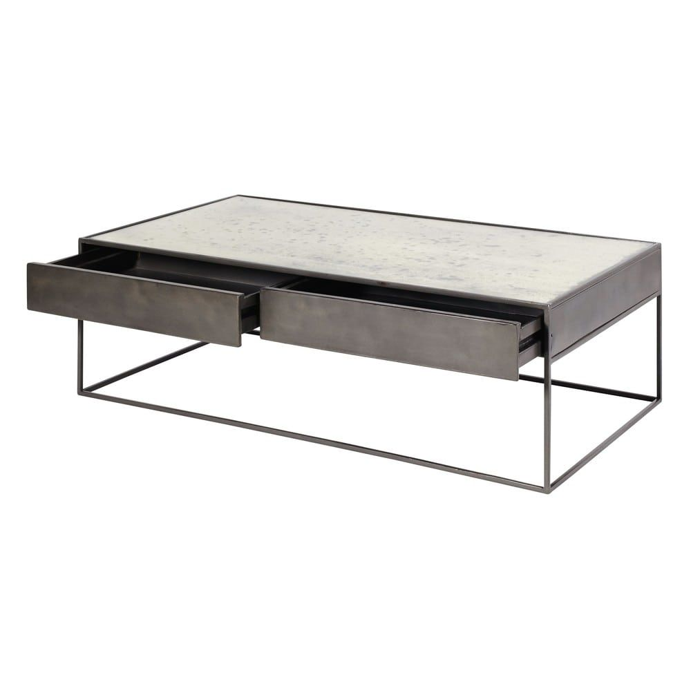 Glass And Metal Nested Coffee Tables W 40cm And W 45cm Table Basse Bois Table Basse Carree Table Basse Design Pas Cher