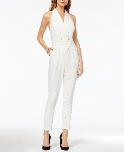 13438309e81 XOXO Juniors  Shawl-Collar Racerback Jumpsuit women s tuxedo style white  wedding jumpsuit