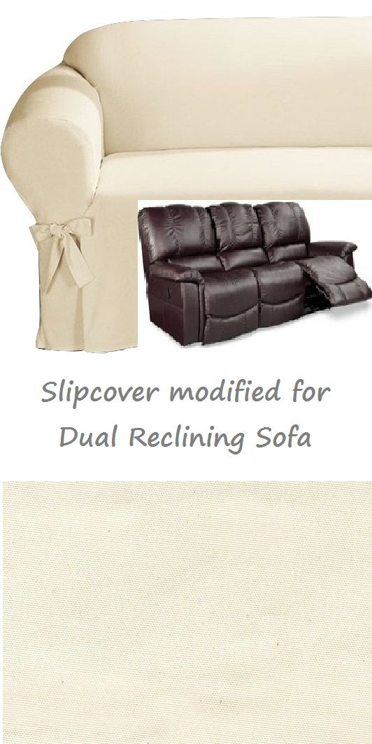 Dual Reclining SOFA Slipcover Cotton Cream For 3 Seater Recliner Couch  SureFit Slip Cover Specifically Modified To Allow The Seats Of Your Couch  To Recline ...