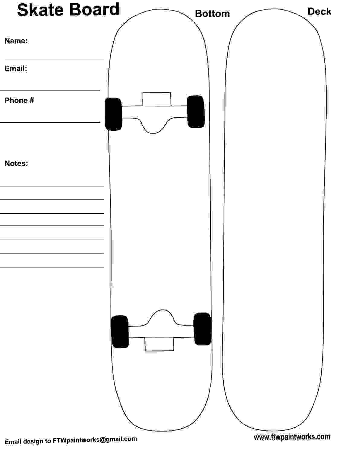 Skateboard Deck Designs Template Print