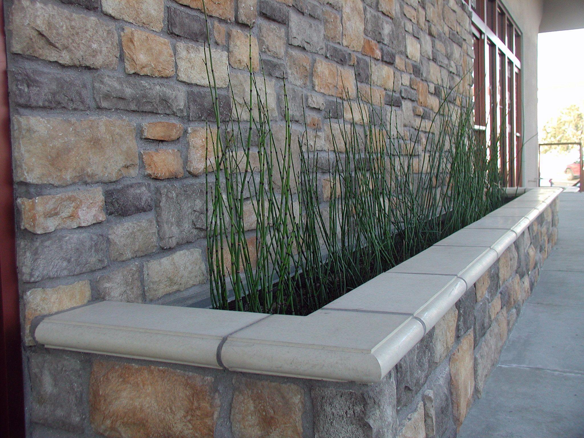 Stone Wall Planter Concrete Wall Outside Flooring Garden Bench Seating