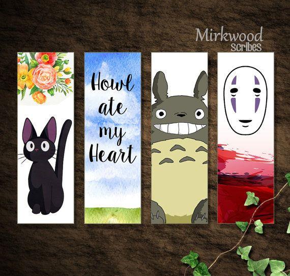 Studio Ghibli Bookmarks DIY Printable Instant Download Set of 4