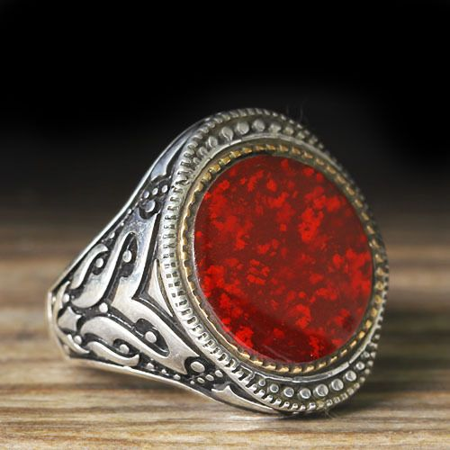925 K Sterling Silver Man Ring Red Amber 9,5 US Size $34.90