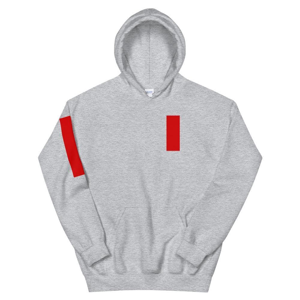 Red Stripe Logo Grey Hoodie - 3XL