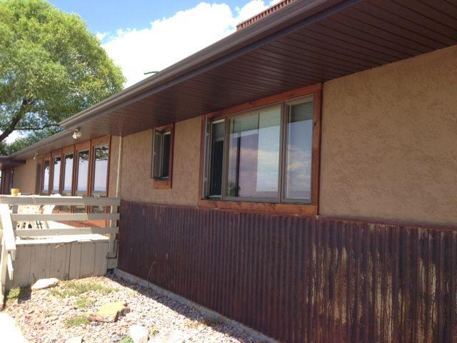 Stucco Exterior Ranch rusty metal wainscot   house siding   pinterest   rusty metal