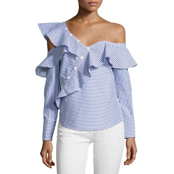 Self-Portrait Striped Frill Asymmetric Shirt ($410) ❤ liked on Polyvore  featuring tops