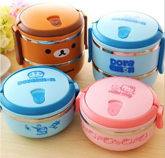 Cute Japanese Cartoon Doll Double Layer Couple Lunch Box Bento Food Container