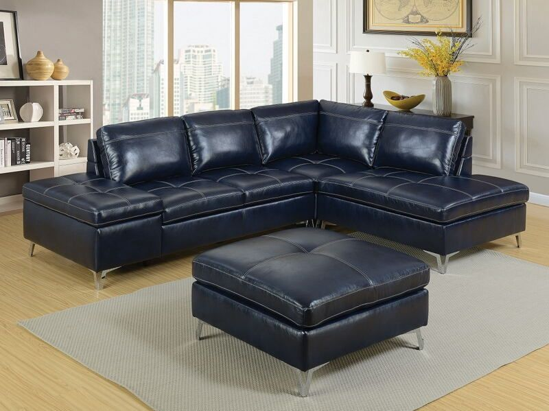 Cm6178 3 Pc Sadie Dark Blue Leather Gel Upholstered Sectional Sofa Set Modern Leather Sectional Sofas Leather Sectional Sofas Living Room Sets Furniture
