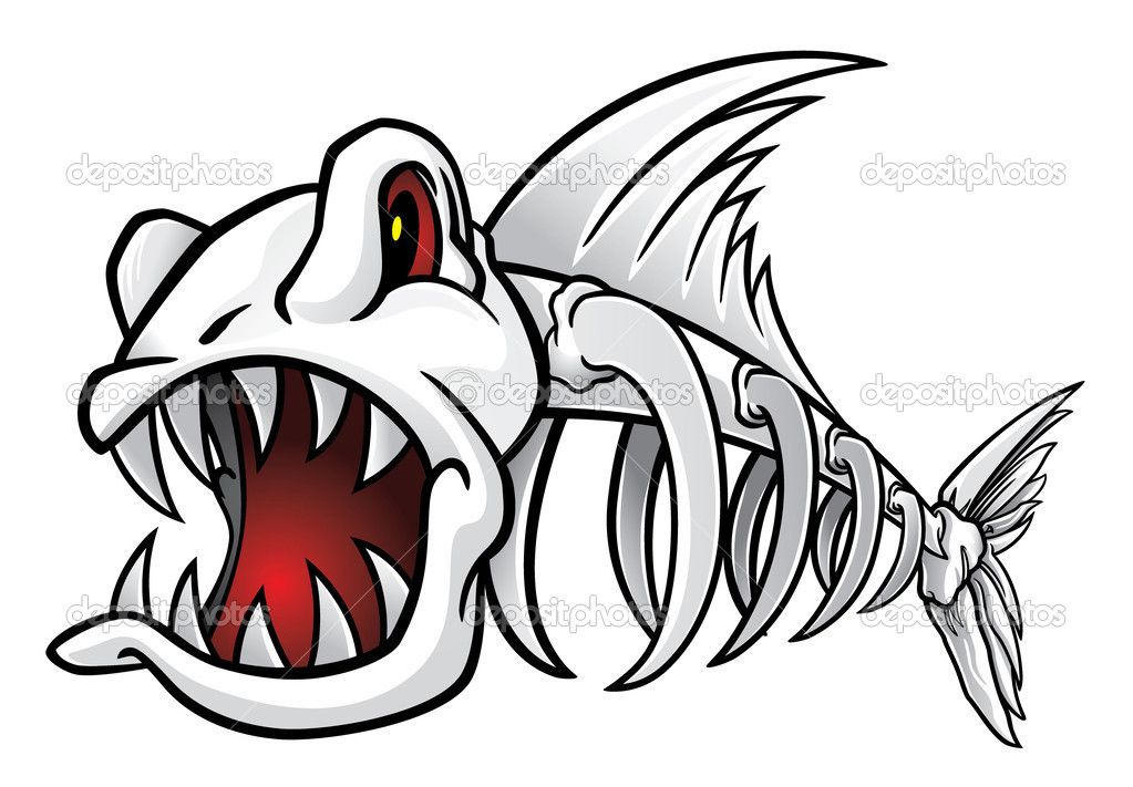 Angry Fish Skeleton vector illustration Fish skeleton