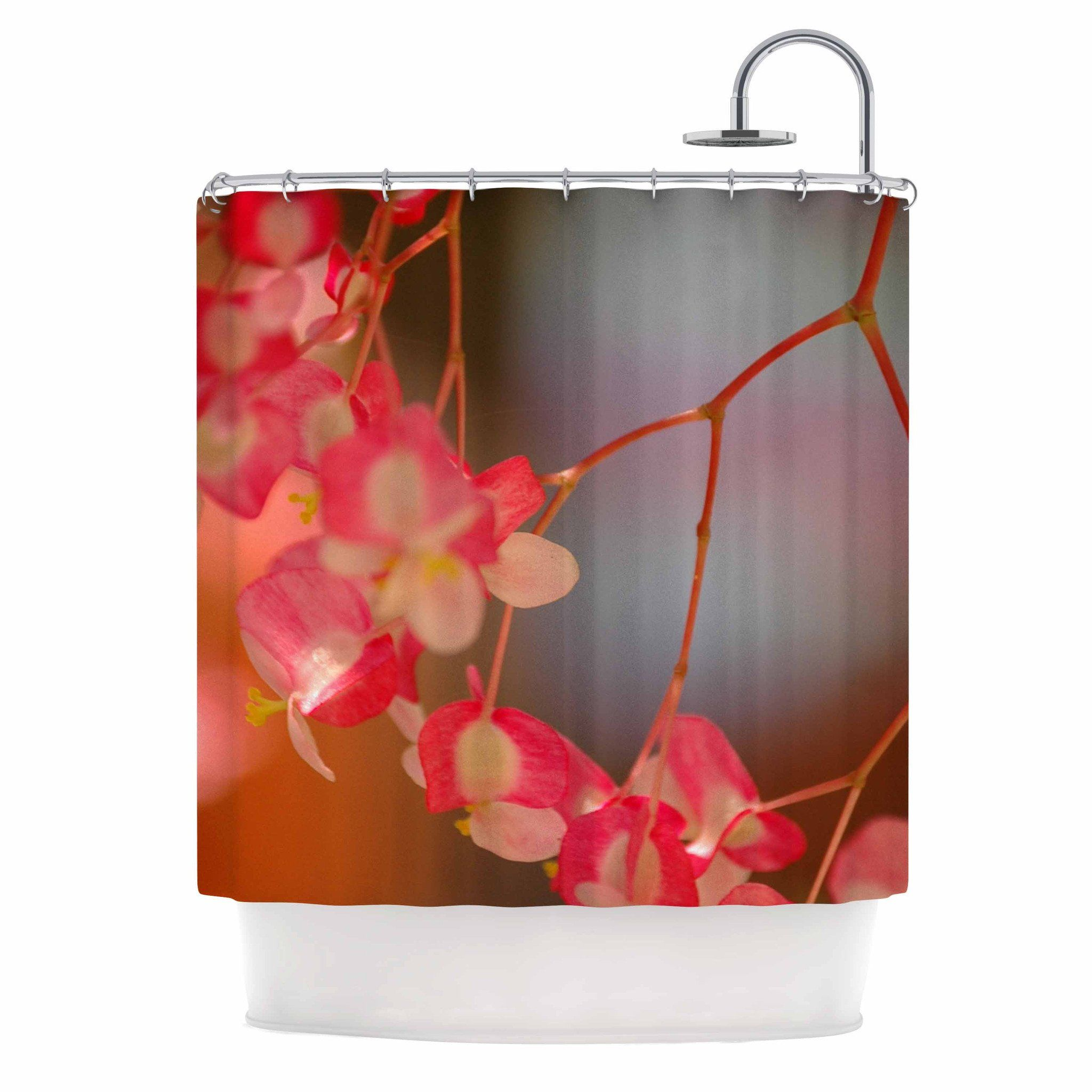 NL Designs Hanging Flowers Pink Floral Shower Curtain