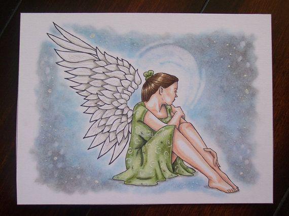 Angel Drawing Girl Drawing Original Art Hand Drawn Art By Vcad 25 00 Hand Art Drawing Angel Drawing Girl Drawing