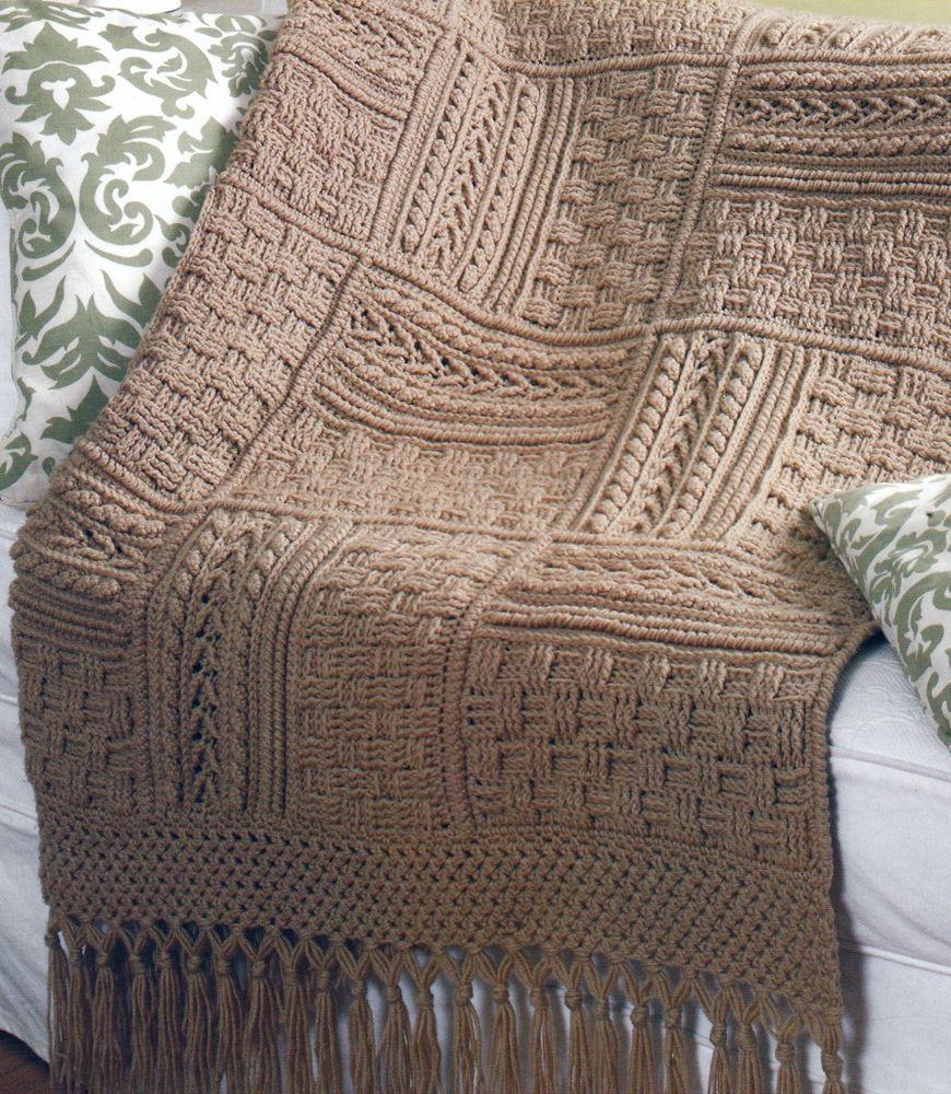 5 Stunning Aran Afghans Basketweave Sampler Crochet Pattern Book