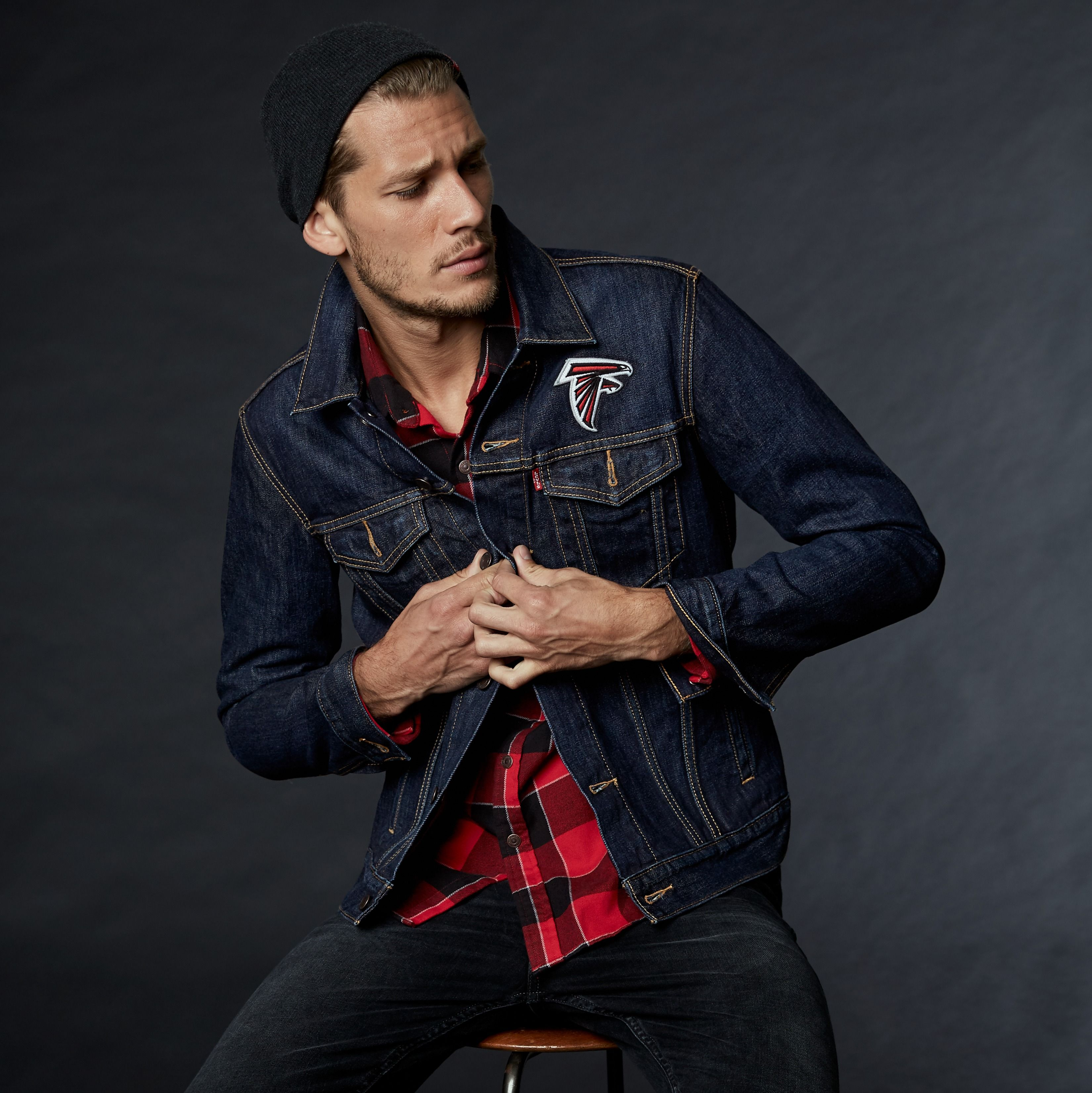 Gear Up To Support Your Atlanta Falcons This Weekend In Our Red And Black Western Plaid And Denim Trucker Jacket Looks [ 3304 x 3300 Pixel ]