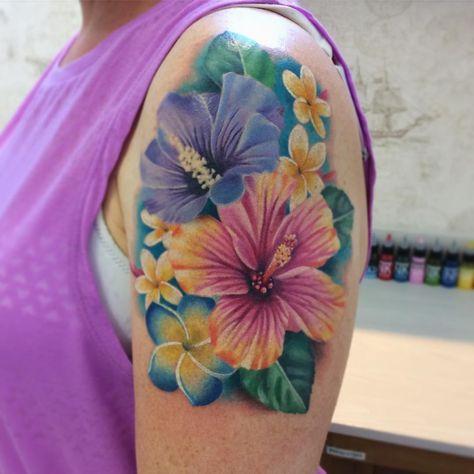 White Ink Plumeria Hawaiian Flower Tattoos Hibiscus Tattoo Flower Tattoo Shoulder