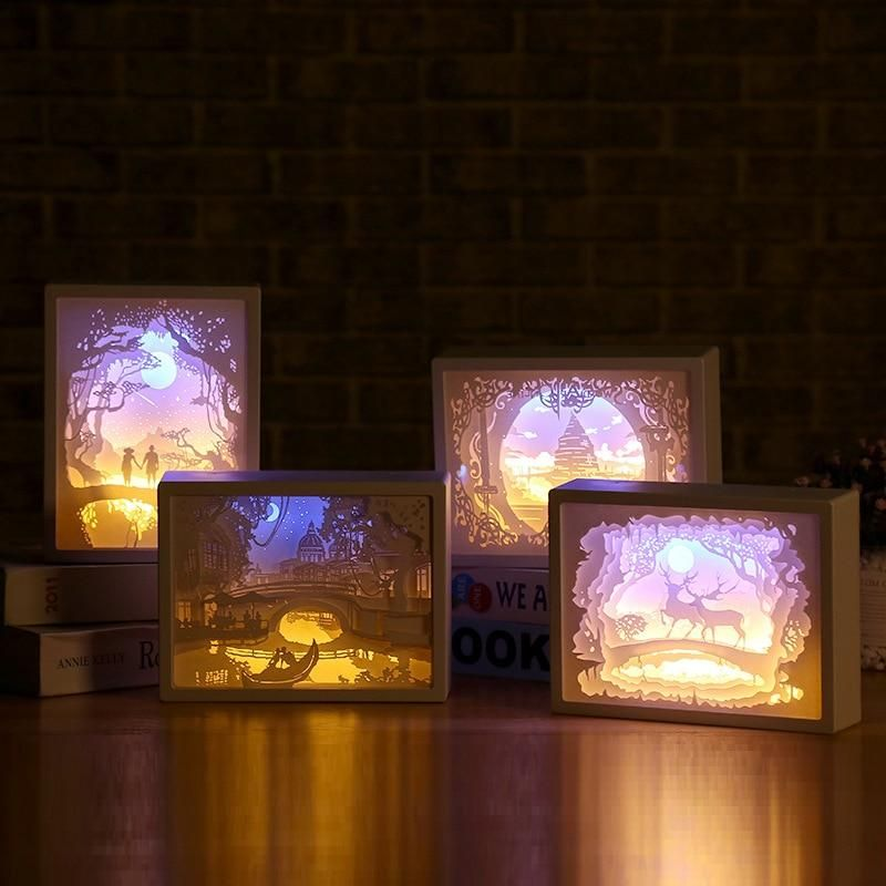 Paper Carved Light Box Lamp Paper Carving Night Light 3d Paper