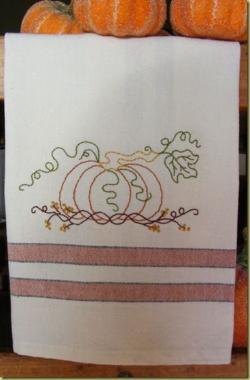 Picture Of Freebie   Pumpkin U0027n Vines Tea Towel.type Free In The Search  Box, And There Are A Ton Of Free Embroidery Designs. Enough To Do A Year Of  Towels, ...