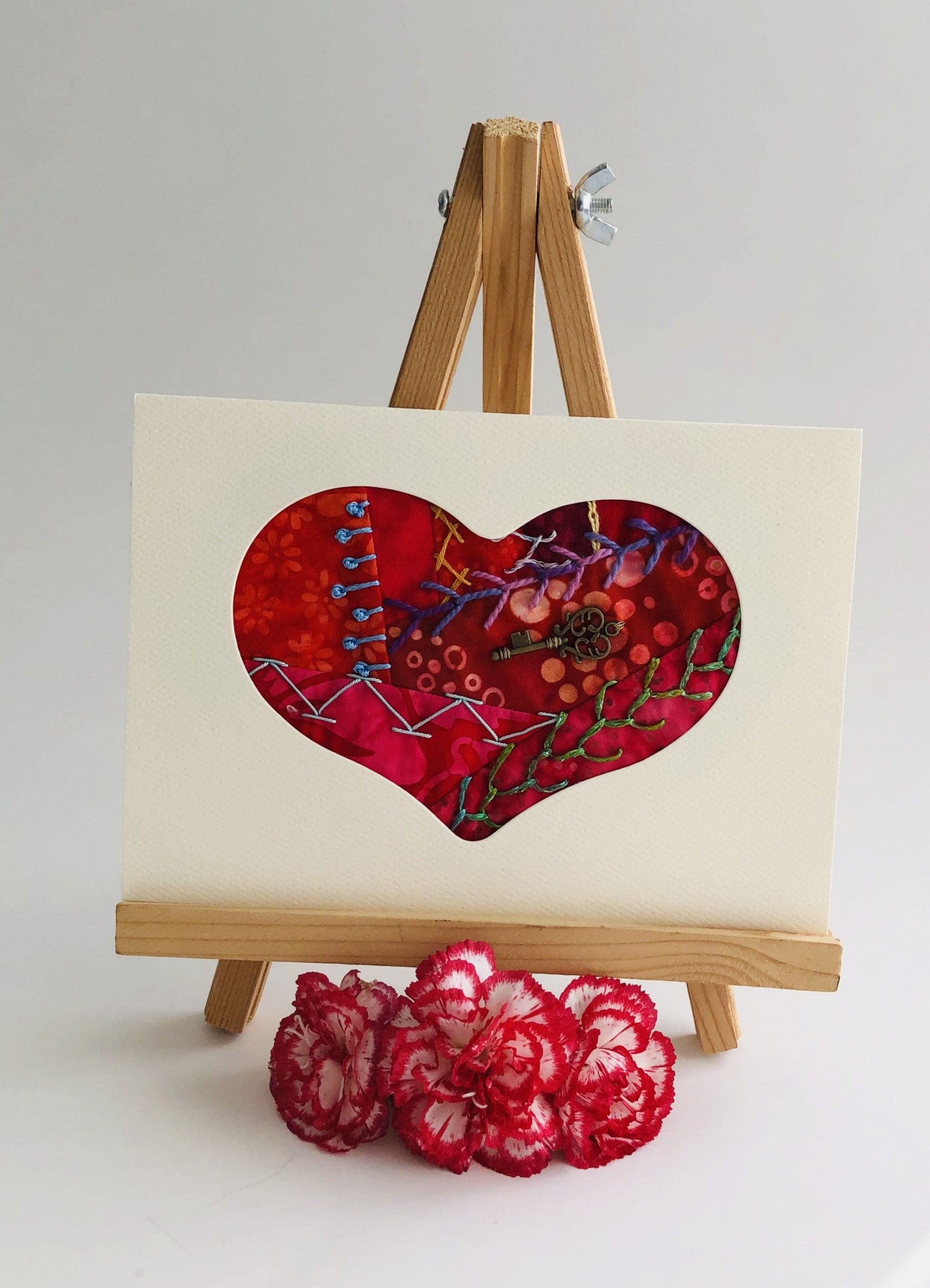 Key To My Heart Hand Embroidered Card Handmade Crazy Quilt Etsy Valentines Cards Crazy Quilts Diy Valentines Cards