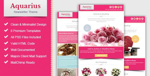 Valentine Email Marketing  Newsletter Template  Aquarius