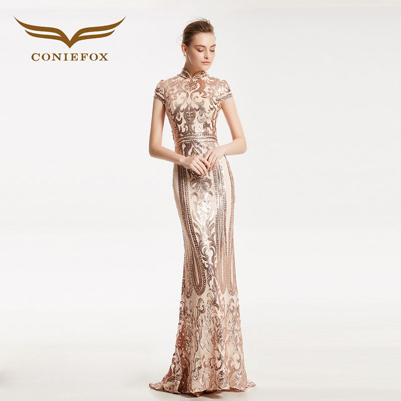 f0e1f9aa10a7 CONIEFOX 31860 Sequined mermaid Fashion sexy Ladies Retro elegance  Appliques prom dresses party evening dress gown long 2017