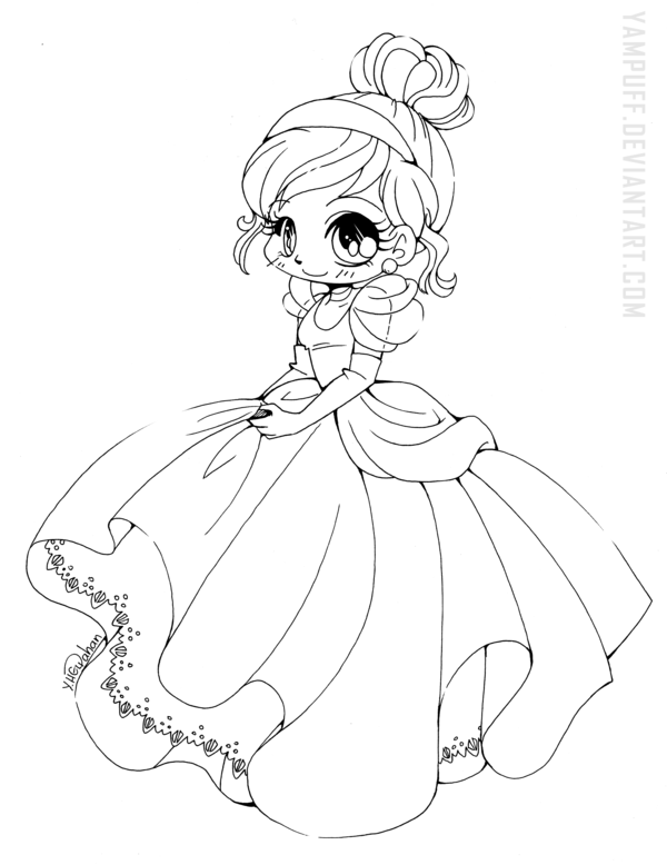 Cinderella Chibi Lineart By Yampuff On Deviantart Chibi Coloring Pages Disney Princess Coloring Pages Princess Coloring Pages