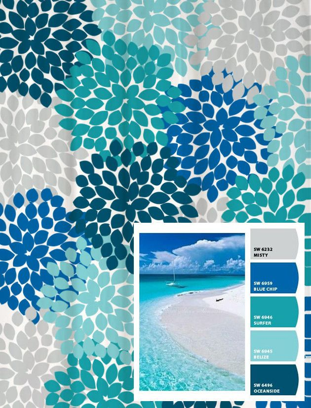 Exceptionnel Shower Curtain In Blue And Gray Beach Inspired Floral